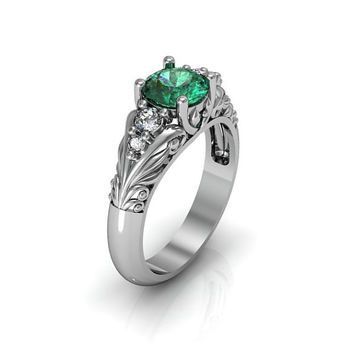 Art Deco Ring -  Antique Style Sterling Silver Created Emerald Floral  Engagement  Wedding Anniversary and Promise Solitaire Ring