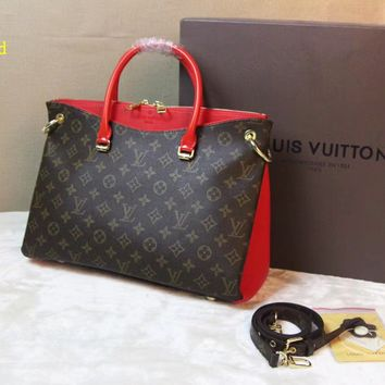 Louis Vuitton Women Fashion Leather Handbag Bag Boston Bag Fresh Red