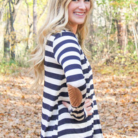 Striped Cardigan Sweater with Elbow Patches - Navy