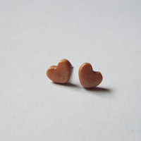 Tiny Gold Heart Stud Clay Earrings