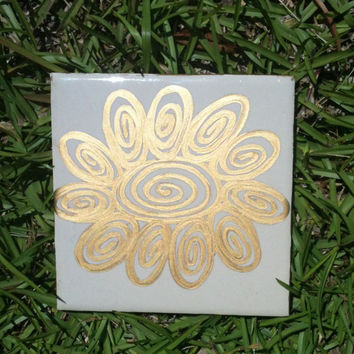 Gold Flower Whimsical Victorian Style Garden Stepping Stone