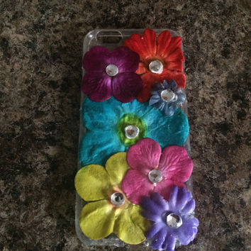 Floral iPhone 6/6s Case, clear case with multi color flowers and rhinestone center