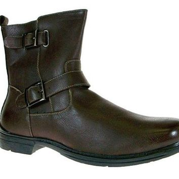 Men's Polar Fox Double Buckle Calf High Casual Dress Boot 697 Brown-165