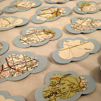 Vintage Map backed by Textured Cardstock Clouds Diecuts  by ScrappyDoodads
