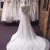 White/Ivory Silk Chiffon Spring Country Beach Wedding Dress with Beaded Straps