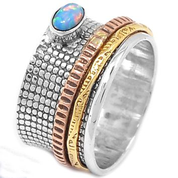 Spinner Ring - Three Tone Fire Opal - keja Jewelry