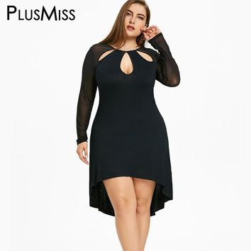 PlusMiss Plus Size 5XL Sexy Hollow Out Sheer Keyhole High Low Dress Women Vintage Bodycon Mesh Long Sleeve Cut Out Party Dress