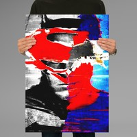 Poster Print Batman vs Superman Half Face Wall Decor Canvas Print - halawatani.com