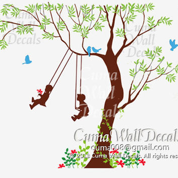 Kids wall decal Tree Bird wall art Home decors flower Murals Removable vinyl decals sticker grass- kids and tree in spring Z109a