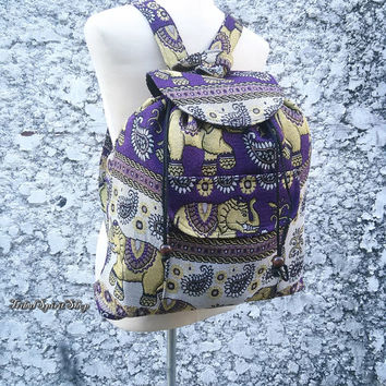 Purple Backpack Aztec Ikat Tribal Elephant Print Woven Boho Hippie Design Nepali Handwoven Patterns Handmade Bags For School Laptop Travel
