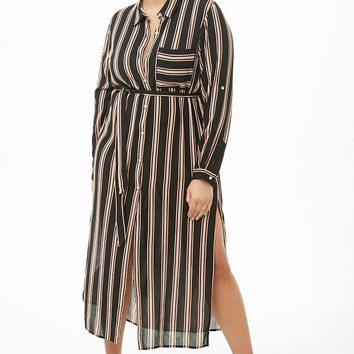 Plus Size Crinkled Multicolor Striped Tunic