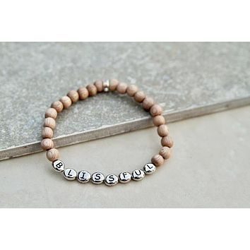 Blissful Stretch Yoga Bracelet in Rosewood, Pewter, and Silver