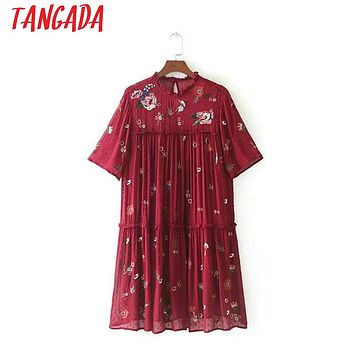 Tangada Women Flower Embroidery Mesh Sequin Dress Red Short Sleeve Boho Style Vintage Ladies Sexy Summer Dress Black Vestidos C