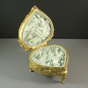 X-Large Heart Shaped Ormolu Jewelry Casket // Trinket Dresser Box // Cherubs Putti // from UBlinkItsGone