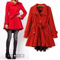 Long Sleeve Collared Pleated Belted Trench Coat