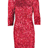Red Sequin Detail Half Sleeve Bodycon Dress