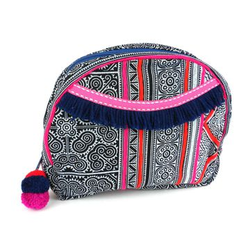 Hmong Batik Cosmetic Bag Makeup Bag in Indigo