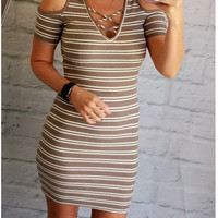Flirting with Striped Cold Shoulder Dress: Grey