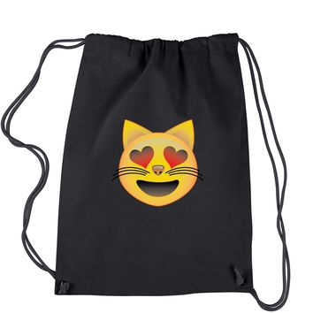 (Color) Emoticon - Heart Eyes Cat Face Smiley Drawstring Backpack