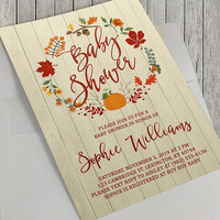 Printable Autumn Baby Shower Invitation, Baby Shower, Fall Baby, Autumn Baby, Autumn Wreath, Pumpkins, 5x7 inches, Bridal, Birthday Options