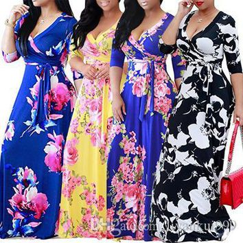 New Womens Summer Bodycon Dresses Fashion Sexy Long Sleeve V-neck Floral Printed Dress Plus Size Maxi Evening Party Clothing S-5XL