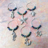 Set of 6 Nautical wine glass charm set gifts under 20 item No.907