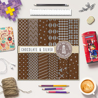 BUY5FOR8, Chocolate Digital Paper, Chocolate Scrapbook Papers, Silver Patterns, Commercial Use, Instant Download
