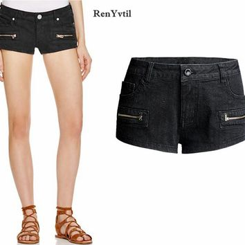 RenYvtil Denim Shorts For Women 2017 New Arrival Zipper Fashion Sexy Woman Elastic Jean Shorts Summer Female Clothing S-2XL