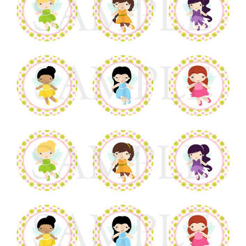 Tinkerbell inspired. Stickers, Cupcake Topper, Tags. Birthday partys Digital file
