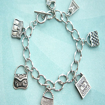 born to shop charm bracelet