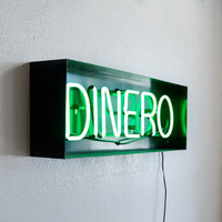 """Neon """"Dinero"""" Sign, Upcycled in Handmade Steel Frame"""