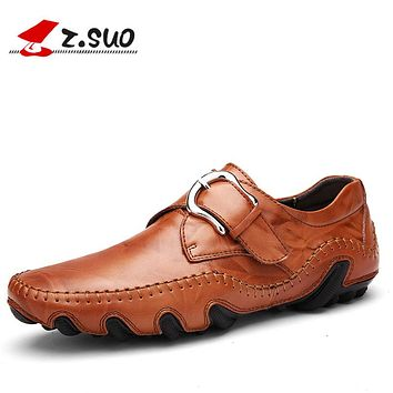New Fashion Men Loafers Spring Style Soft Moccasins Genuine Leather Flat Shoes Men Casual Shoes Black Brown