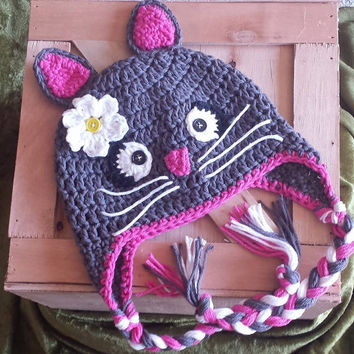 Crochet Kitty Cat Ear Flap Hat Newborn - 4T