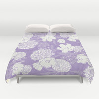 SKETCHY FLORAL: DUSTY LAVENDER Duvet Cover by Eileen Paulino