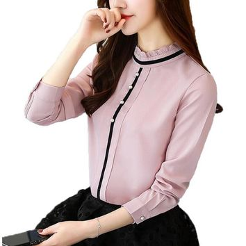 2018 Spring New Women Blouses Long Sleeve Casual Chiffon Blouse Female Stand Collar Work Wear Fashion Office Shirt Women Tops