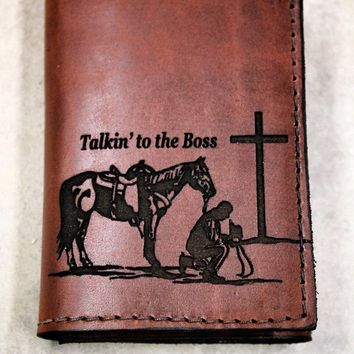 Cowboy Church Wallet, Trifold Christian Wallet, Name, Initials or Bible Verse engraved Free!