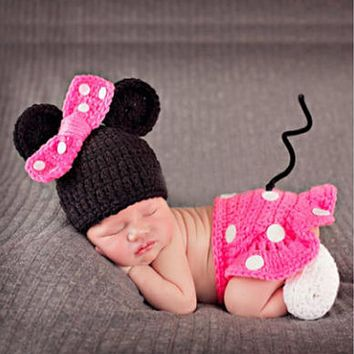 Newborn Crochet Costume Baby Boys Girls Photography Props Infant Knitting Photo Props Kid Cartoon Cute Outfits with Shoes Hat
