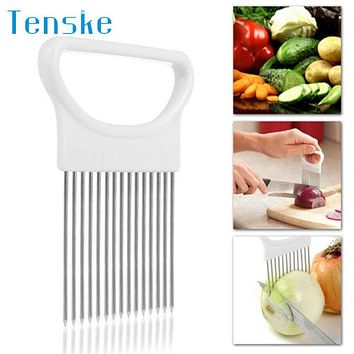 Slicing Cutter Tomato Onion Vegetables Slicer Cutting Aid Holder Guide Slicing Cutter Safe Fork 2017 New Hot Sell 17may25