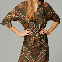 Totem Print Long Sleeve V-neck A-Line Mini Dress