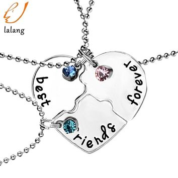 Fashion Best Friend Forever Statement Necklace Sets 3 Pieces Puzzle Broken Heart Necklaces & Pendants BFF Collier Friendship