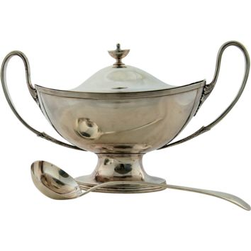 Antique Sheffield English Silver Plated Soup Tureen with Ladle, circa 1840-95 Neoclassic Grecian Style