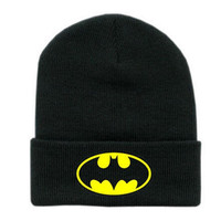 Winter Knit Black beanie Hat Men/Women Cap Skully Letter - Batman