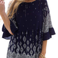 Morrocco Blouse, Navy