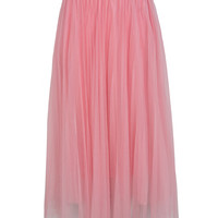 Pink Contrast Stretch Waist Pleated Tulle Skirt