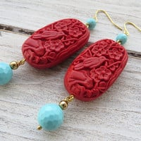 Red and turquoise earrings, cinnabar earrings, carved earrings, dangle earrings, summer earrings, italian jewelry, mother's day gift, bijoux