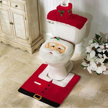 3Pcs/set Christmas Decorations for Home Toilet Seat Cover Paper Rug Bathroom Set Christmas Ornaments Santa Claus New Year Decor