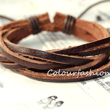 Christmas Gift, Winter Gift, Brown leather bracelet, Cool Fashion Multilayer Weaved Brown Leather cuff Wrap Bracelet