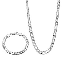 Stainless Steel Figaro Chain Necklace & Bracelet Set