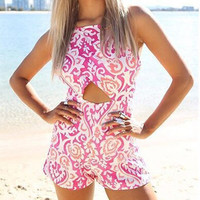 Pink Printed Cut-Out Romper