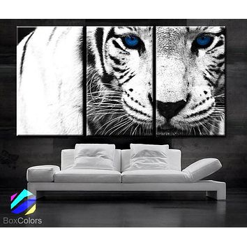 "LARGE 30""x 60"" 3 Panels Art Canvas Print beautiful Snow Leopard animal Feline Wall Home Decor interior (Included framed 1.5"" depth)"